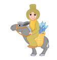 bedouin rides a donkey and carries fresh fish in vector image vector image