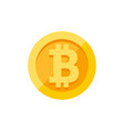 bitcoin currency symbol on gold coin flat style vector image vector image