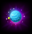 blue planet with rings icon for game or mobile app vector image vector image