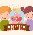 boy and girl jar glass hearts love donate charity vector image vector image