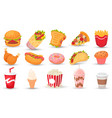 cartoon fast food hamburger tasty sandwich and vector image vector image