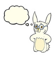 cartoon rabbit wearing spectacles with thought vector image vector image
