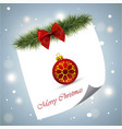 christmas card with red bow and snowy background vector image vector image