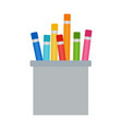 colored pencils in a cup flat isolated vector image
