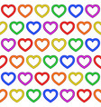 colorful rainbow heart seamless repetitive pattern vector image