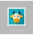 Cow flat stamp Animal head vector image vector image