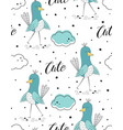 cute bird scandinavian pattern vector image vector image