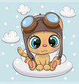 cute cartoon kitten in a pilot hat on a cloud vector image vector image
