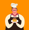 cute chef holding a plate dessert menu vector image