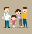 cute family visiting the doctor vector image vector image