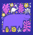 cute hippo and bird flat vector image vector image