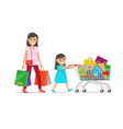 family out on shopping shopping set vector image vector image