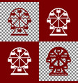 ferris wheel sign bordo and white icons vector image vector image