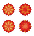 flat flowers icon set red flower symbols vector image