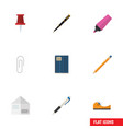 flat icon tool set of fastener page pushpin vector image vector image