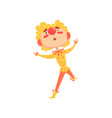 funny clown in a red and yellow costume colorful vector image vector image