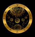 golden astrology concept with planets isolated on vector image