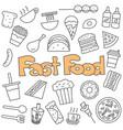 hand drawn doodle fast food set vector image