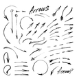 Hand-drawn isolated sketchy arrows set