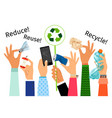 hands with trash and recycle sign vector image vector image