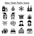 happy new year icons vector image vector image