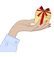 linear color drawing a female hand holding a vector image vector image