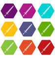 long sword icon set color hexahedron vector image vector image