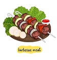 Meat kebab on cutting board vector image vector image