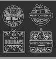 merry christmas monochrome sketches with gifts and vector image vector image