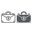 money suitcase line and glyph icon bag and vector image vector image