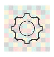 pixel icon cog on a square background vector image vector image
