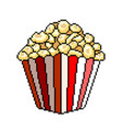 pixel popcorn bucket detailed isolated vector image