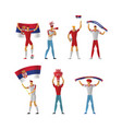 serbia football fans cheerful soccer vector image vector image