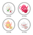 set from frames with teacups and teapots teatime vector image vector image