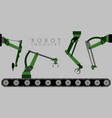 set of colored robotic arms vector image