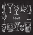 set of different drink glasses stemware vector image vector image