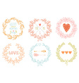 Set of Valentines day wreaths and other design vector image vector image