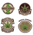 set of vintage emblems with medical marijuana vector image vector image