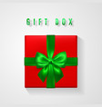 set red gift box with green bow and ribbon top vector image