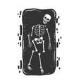 skeleton in grave sketch vector image vector image