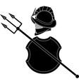 stencil gladiators helmet with trident vector image vector image