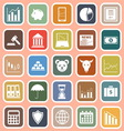 Stock market flat icons on red background vector image vector image