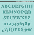 striped roman alphabet set vector image