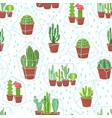 succulents seamless background cactuses and vector image vector image