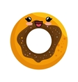 sweet donut character icon vector image