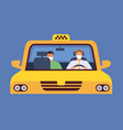 taxi driver in mask virus protection in taxicab vector image vector image