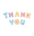 thank you inscription kawaii bold colorful vector image