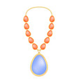 topaz necklace mockup realistic style vector image vector image