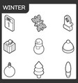 winter outline isometric icons vector image vector image