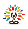 yoga lotus pose tree concept with color leaves vector image vector image